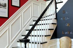 Flur-rot-Blau-Wandfarbe-Gestaltung-Ideen-schön-stilvoll