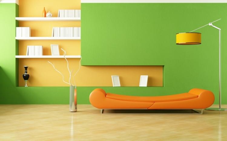 farben-fuer-wohnzimmer-gruen-orange-canape-stehlampe-regal › MalerTV ...