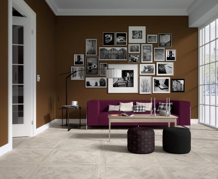 farbideen-wohnung-braun-nuance-bilder-deko-pink-sofa-wohnzimmer ...