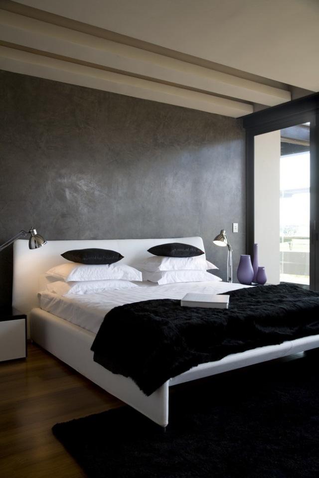 maltechniken-farbeffekte-wand-streichen-ideen-schlafzimmer-grau ...