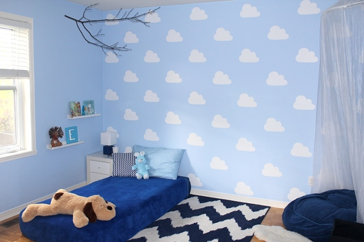 wand streichen ideen muster wolke schablone kinderzimmer. Black Bedroom Furniture Sets. Home Design Ideas