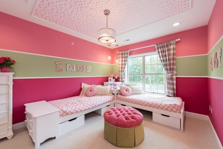 Kinderzimmer wandgestaltung mädchen streifen  De.pumpink.com | Schlafzimmer Einrichten Feng