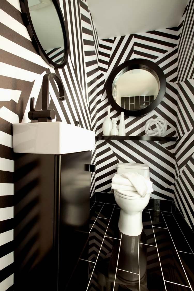 wandbemalung ideen design, wandbemalung-ideen-schwarz-weiss-bad-kklo-fliesen-wandfarbe-armatur, Design ideen