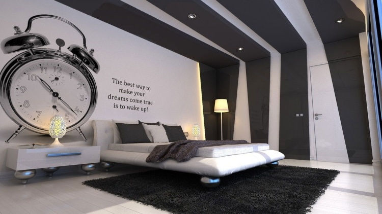 wandbemalung-ideen-schwarz-weiss-schlafzimmer-wecker-gross ...