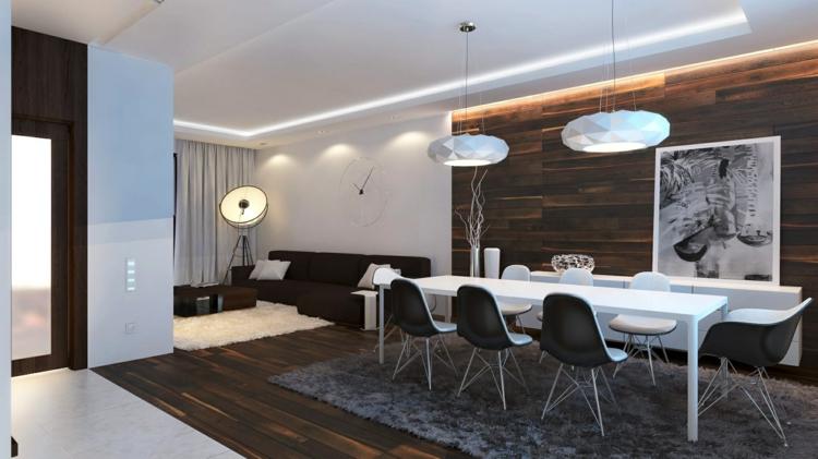 Wanddekoration Holz Akzent Essbereich Wohnzimmer Minimalistisch