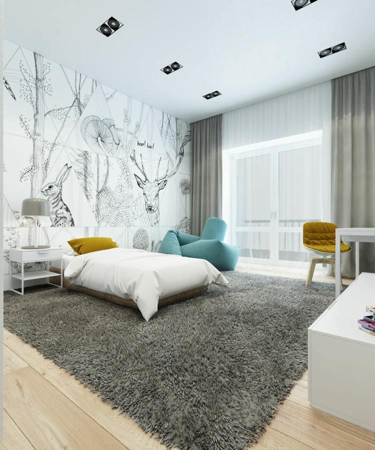 wohnung farbideen modern schlafzimmer einrichtung weiss grau gelb blaugrau. Black Bedroom Furniture Sets. Home Design Ideas